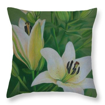 Throw Pillow featuring the painting White Lily by Pamela Clements