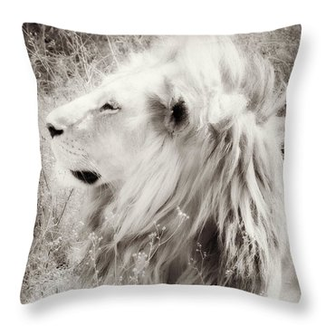White Lion Throw Pillow