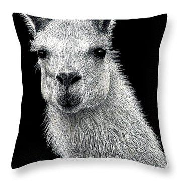 White Llama Throw Pillow