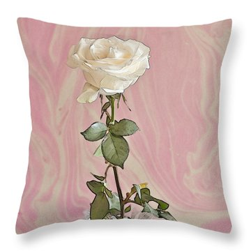 Throw Pillow featuring the photograph White Long Stemmed Rose by Sandra Foster