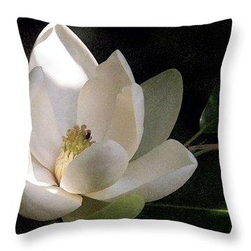 White Magnolia Throw Pillow