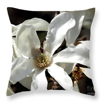 White Magnolias Throw Pillow