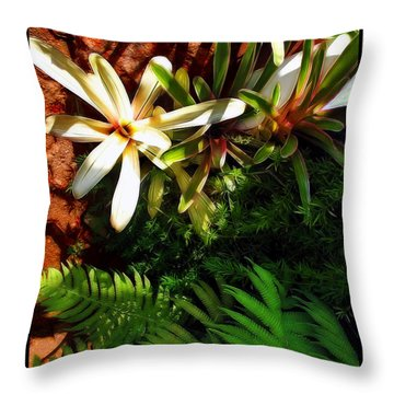 White Maui Flowers Throw Pillow by Joan  Minchak