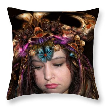 Throw Pillow featuring the digital art White Meat And Bones Tiara by Otto Rapp