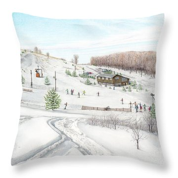 Throw Pillow featuring the painting White Mountain Resort by Albert Puskaric