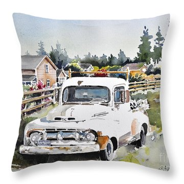 White Old Truck Parked Over The Fench Throw Pillow