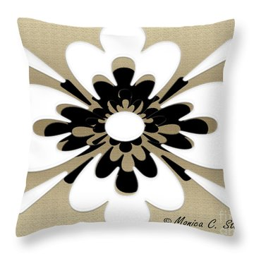 White On Gold Floral Design Throw Pillow