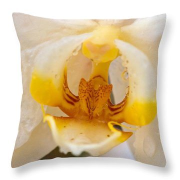 White Orchid Center Throw Pillow