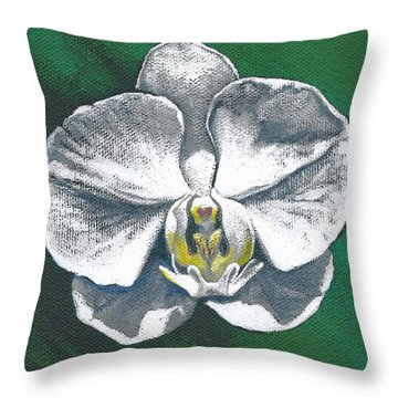 White Orchid I Throw Pillow