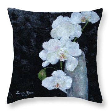 Throw Pillow featuring the painting White Orchid by Judith Rhue