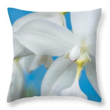 White Orchid Throw Pillow by Leigh Anne Meeks
