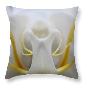 White Orchid Macro Throw Pillow