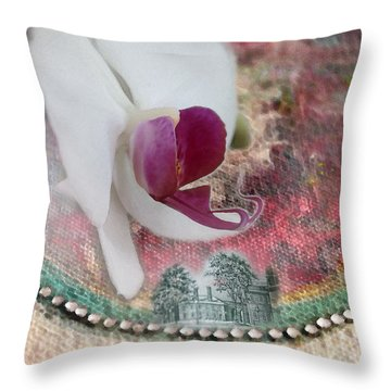 white Orchid on a Landscape Throw Pillow
