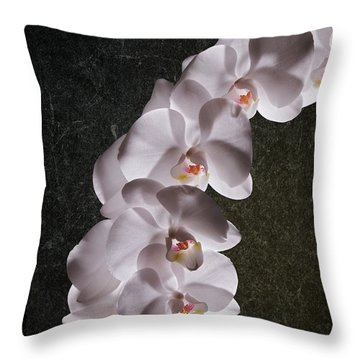 White Orchid Still Life Throw Pillow