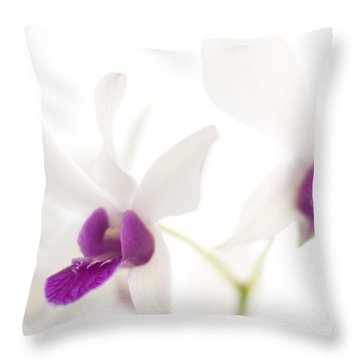Throw Pillow featuring the photograph White Orchids by Bradley R Youngberg