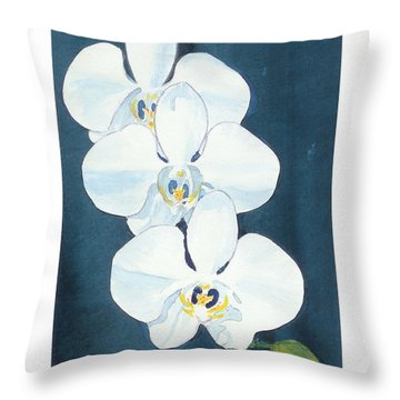 Throw Pillow featuring the painting White Orchids by C Sitton