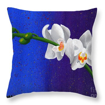 Throw Pillow featuring the painting White Orchids by Laura Forde