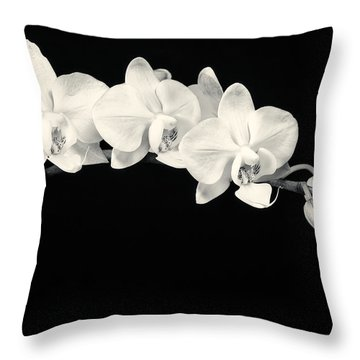 White Orchids Monochrome Throw Pillow