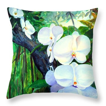 White Orchid's Throw Pillow