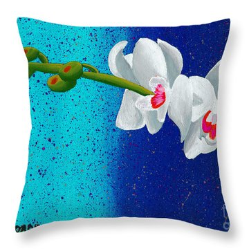 Throw Pillow featuring the painting White Orchids On Blue by Laura Forde