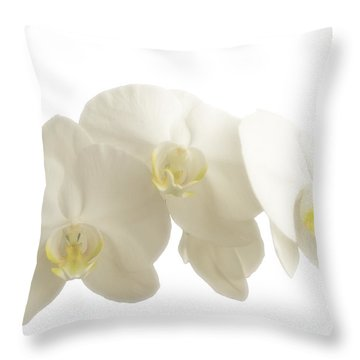 White Orchids On White Throw Pillow