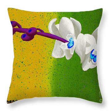Throw Pillow featuring the painting White Orchids On Yellow And Green by Laura Forde