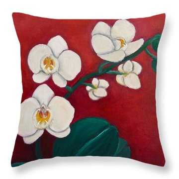 White Orchids Throw Pillow by Victoria Lakes