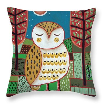 White Owl Throw Pillow by Karla Gerard