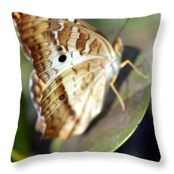 Throw Pillow featuring the photograph White Peacock Butterfly by Greg Allore
