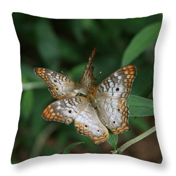 White Peacock Butterflies Throw Pillow