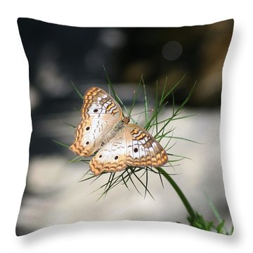 White Peacock Throw Pillow