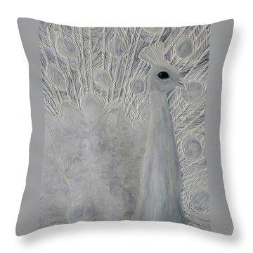 White Peacock Throw Pillow by Patricia Olson
