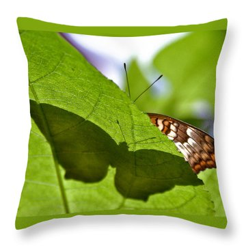 White Peacock Shadow Throw Pillow