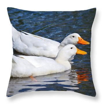 White Pekin Ducks #2 Throw Pillow