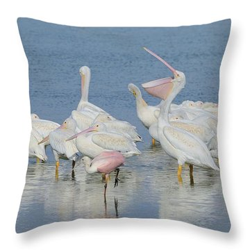 White Pelicans And Roseate Spoonbills Throw Pillow