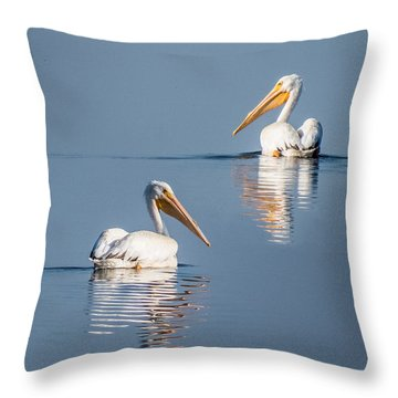 White Pelicans Throw Pillow by Patti Deters