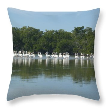 Throw Pillow featuring the photograph White Pelicans by Robert Nickologianis