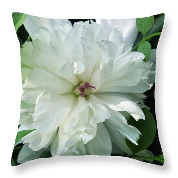 Throw Pillow featuring the photograph White Peonese by Verana Stark