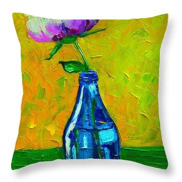 White Peony Into A Blue Bottle Throw Pillow by Ana Maria Edulescu