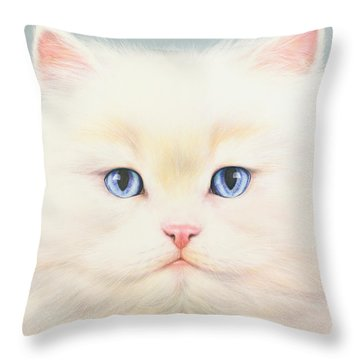 White Persian Throw Pillow by Andrew Farley