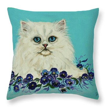 Throw Pillow featuring the painting White Persian In Pansy Patch Original Forsale by Bob and Nadine Johnston