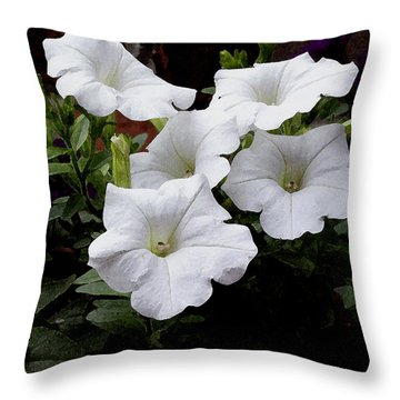 Throw Pillow featuring the photograph White Petunia Blooms by James C Thomas
