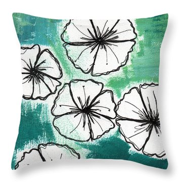 White Petunias- Floral Abstract Painting Throw Pillow by Linda Woods