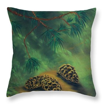 Throw Pillow featuring the painting White Pine  And Cones by Sharon Duguay