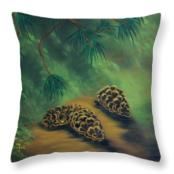 White Pine  And Cones Throw Pillow by Sharon Duguay