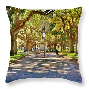White Point Gardens At Battery Park Charleston Sc Hdr Throw Pillow