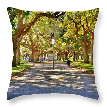 White Point Gardens At Battery Park Charleston Sc Hdr Throw Pillow