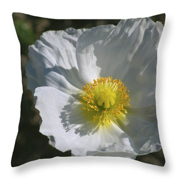 Throw Pillow featuring the photograph White Poppy by Rima Biswas