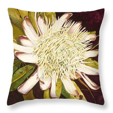 White Protea Throw Pillow