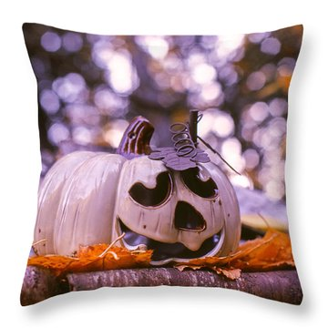 Throw Pillow featuring the photograph White Pumpkin by Aaron Aldrich